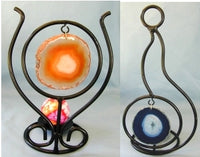 Iron & Agate Candle Holder Asst.