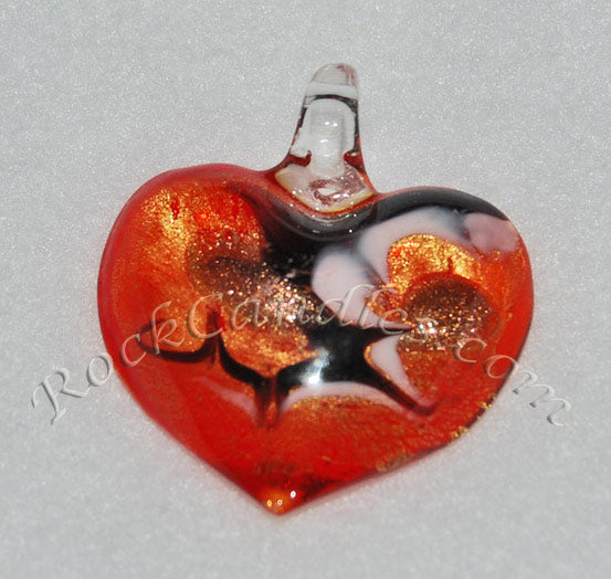 Red-Gold Foil Heart Pendant