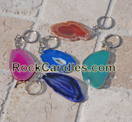 Polished Agate Slice Key Chain