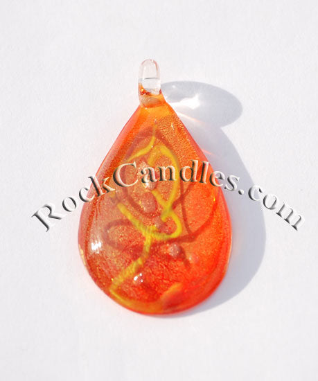 Orange Teardrop Foil Pendant