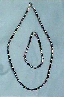 Hematite - round and cylinder bead necklace & bracelet