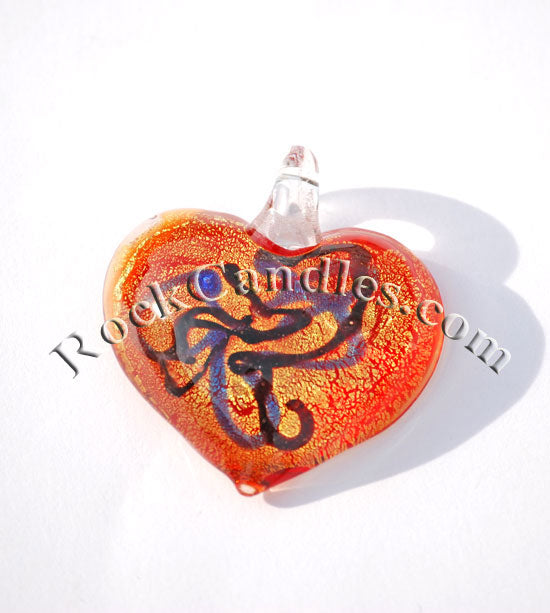 Heart Foil Pendant Orange