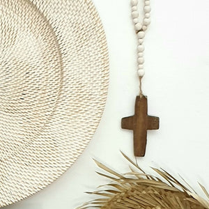 Rustic Wooden Hanging Cross with bead necklace