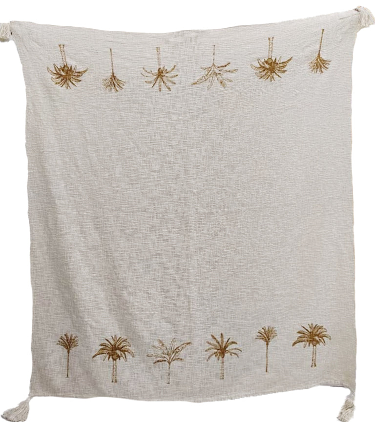 Luxe Twin Palm Tree Border Throw Natural with Ochre