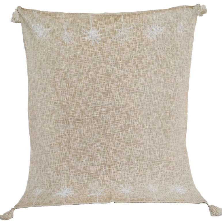 Luxe Twin Palm Tree Border Throw Natural with White