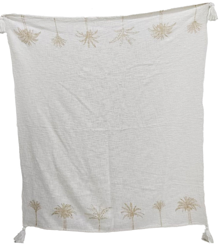 Luxe Twin Palm Tree Border Throw White with Natural