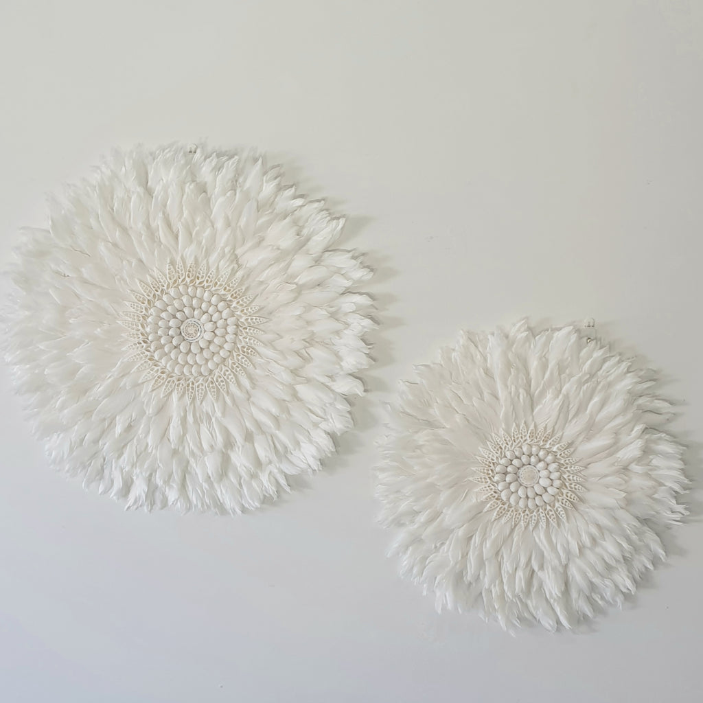 Boho Luxe Juju Hat Feather and Shell Wall Hanging
