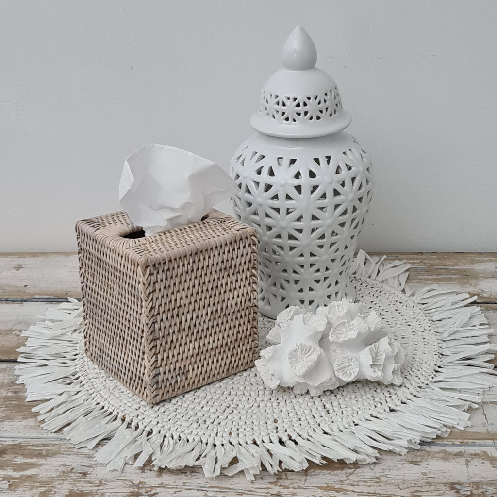 Rattan Whitewash Tissue Box Square
