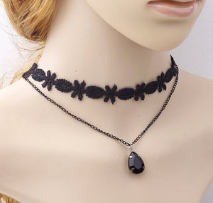 Women's Fashion Black Lace Tassel Chain Pendant Choker Bib Collar Necklace