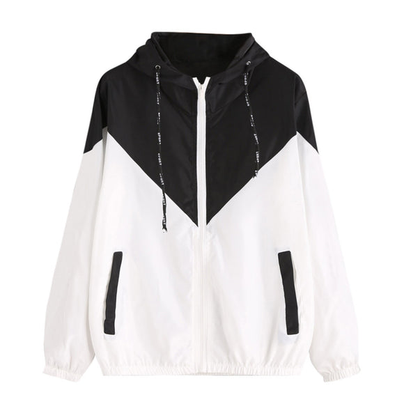 Women Long Sleeve Patchwork Thin Skinsuits Hooded Zipper Pockets Sport Coat