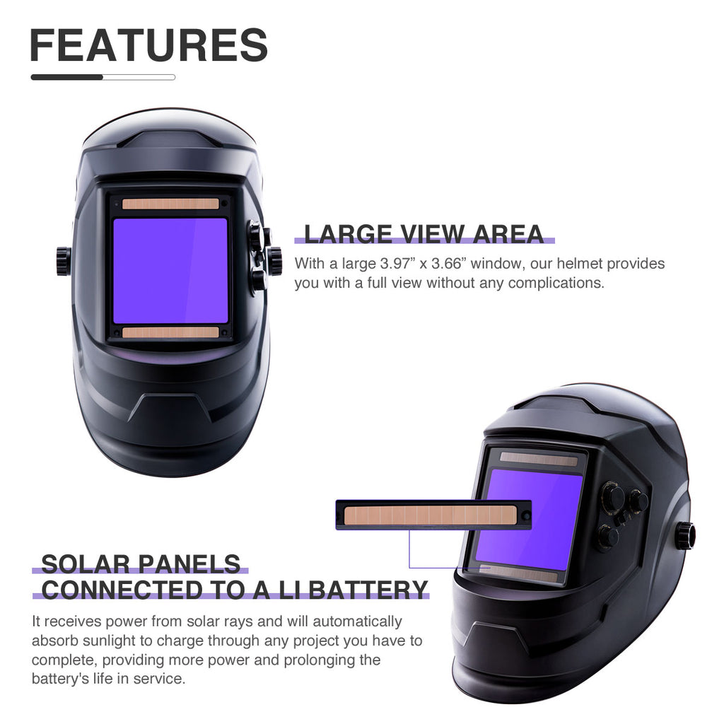 Welding Helmet True Color Auto-darkening Solar Powered Lithium Battery MIG TIG - Kaiezen