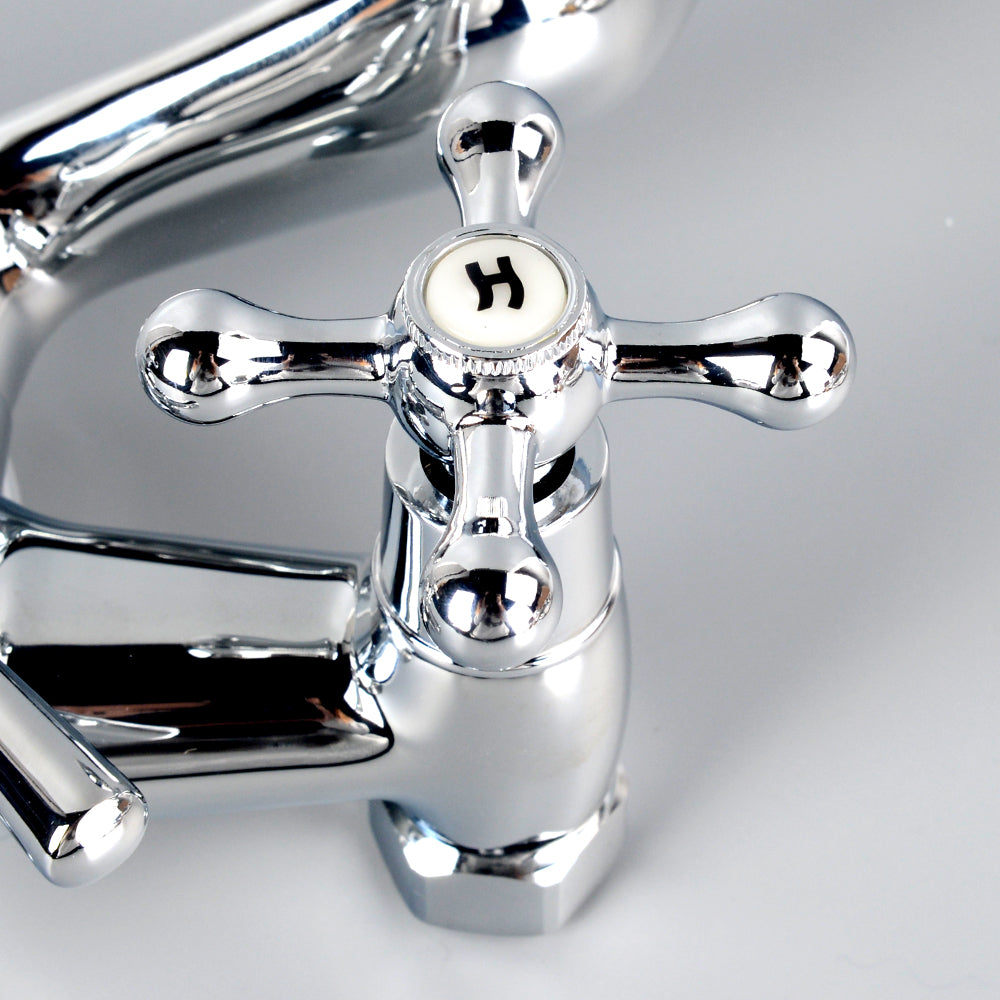 "Bathroom Clawfoot Faucet 4.7''-6.12"" Centers Two Handle Wall-Mounted Polished Chrome - Kaiezen"