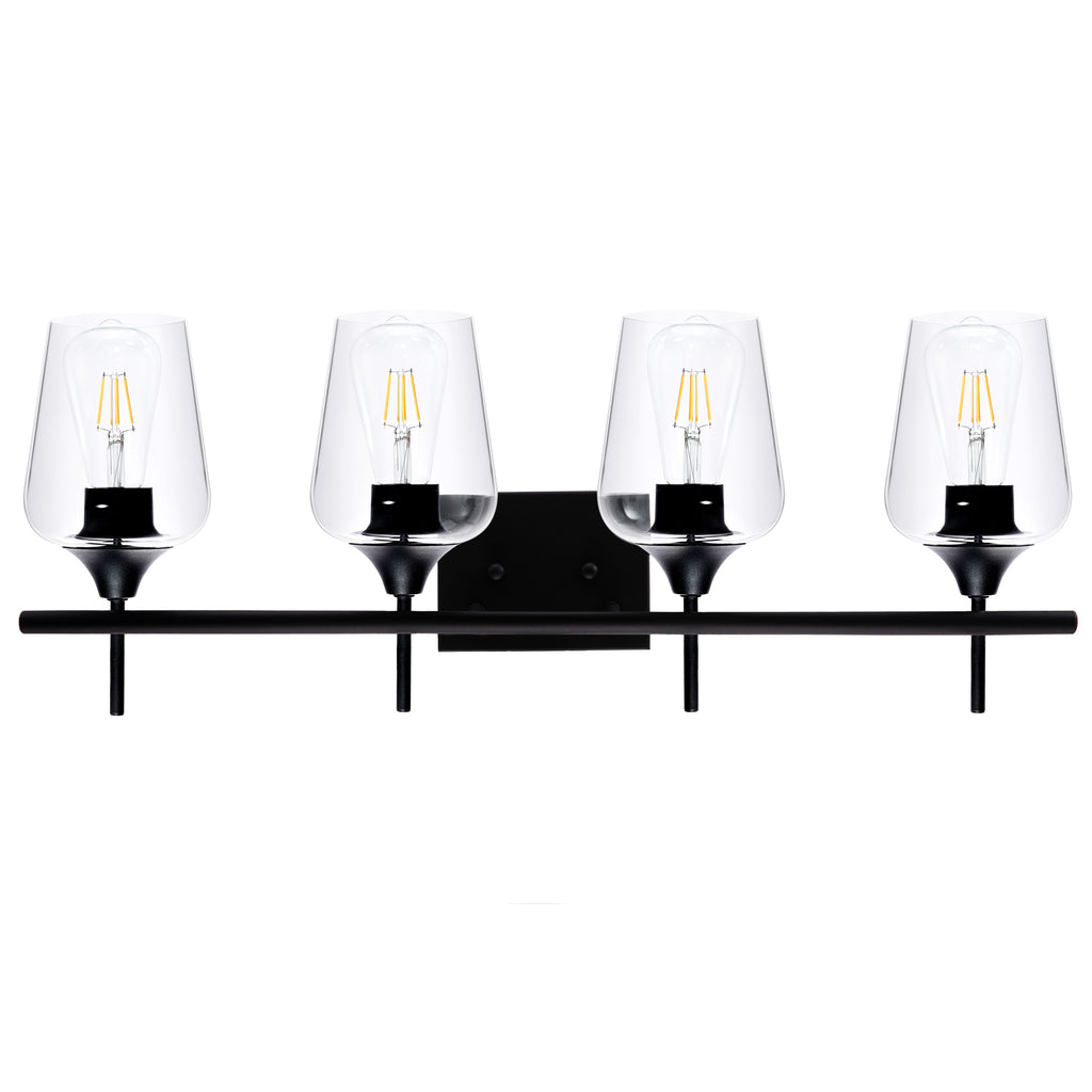 4-Light Vanity Light With Clear Glass Shades, Matt Black Finish - Kaiezen