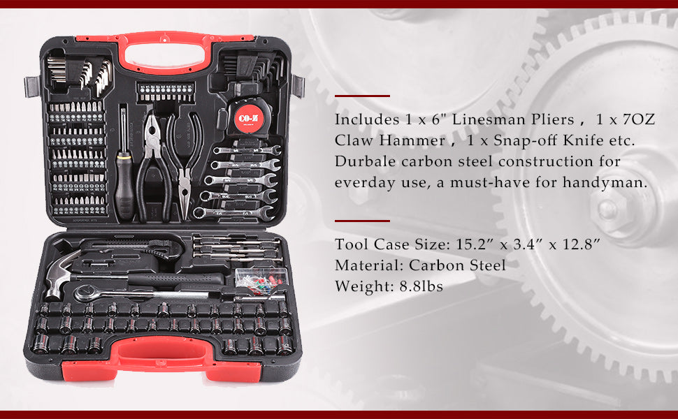 186 Piece Complete Home Repair Tool Kit for Home Maintenance with Plastic Toolbox Case - Kaiezen