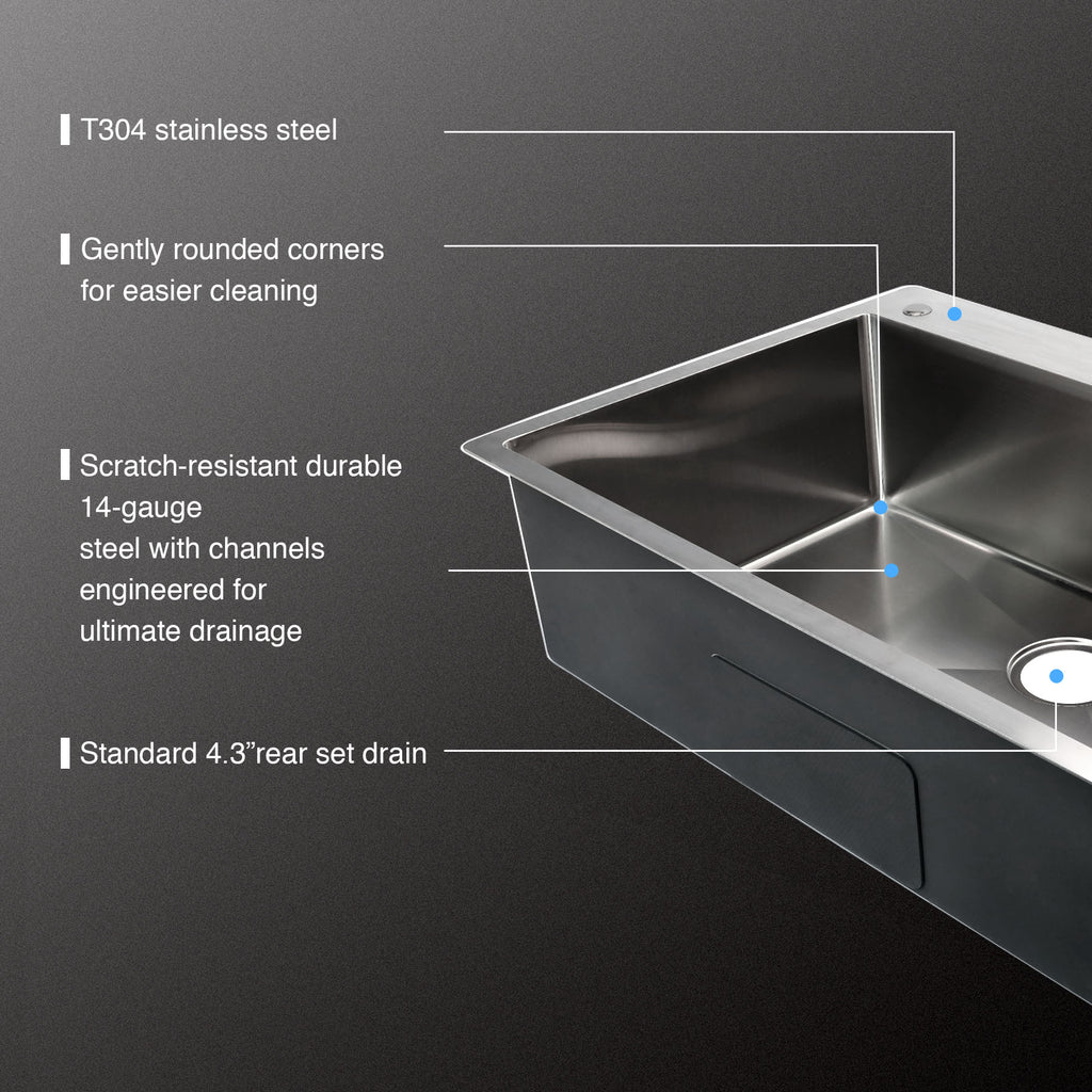 "33"" x 22"" x 9"" Single Basin Stainless Steel Top Mount Kitchen/Restaurant Sink - Kaiezen"