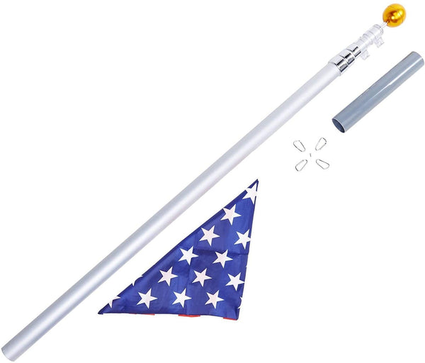 19 Feet Aluminum Telescoping Flag Poles with 3-Feet-by-5-Feet American Flag
