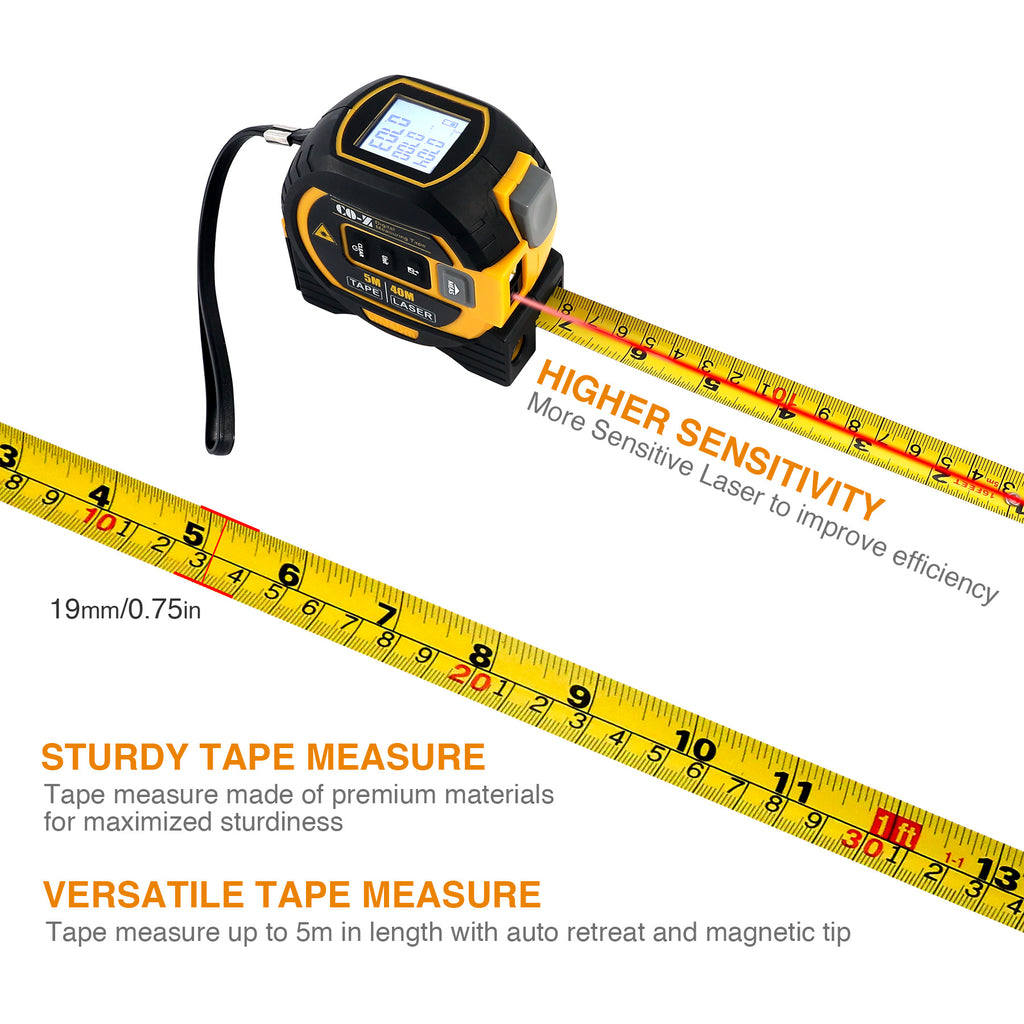3-in-1 Laser Tape Measure, Laser Level, Tape Measure, Distance Measuring 131 Ft - Kaiezen