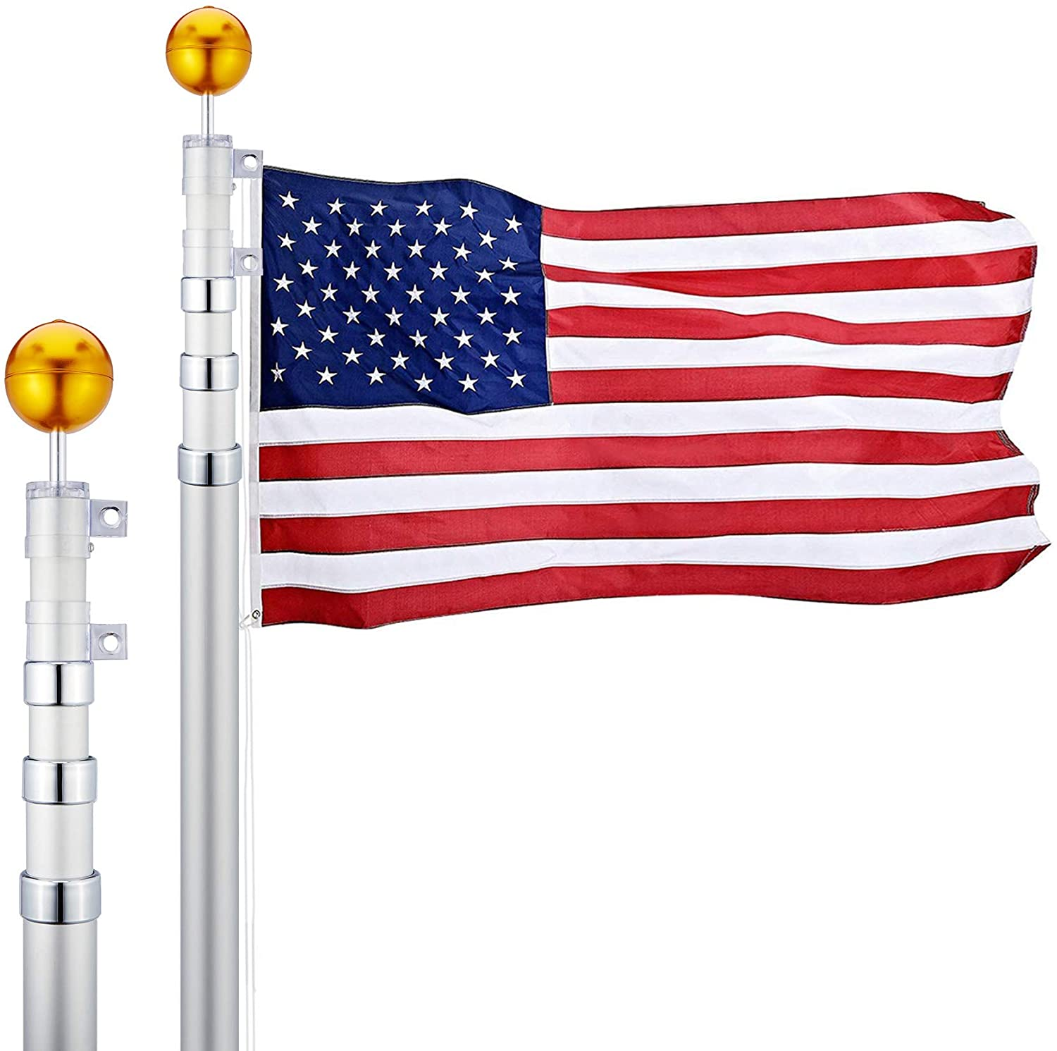 16 Feet Aluminum Telescoping Flag Poles with 3-Feet-by-5-Feet American Flag