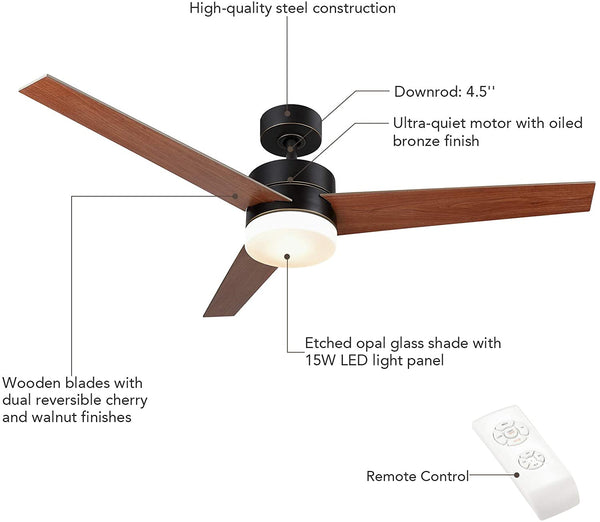 53 inch ceiling fan light with 3 fan blades (Old Bronze Finish)