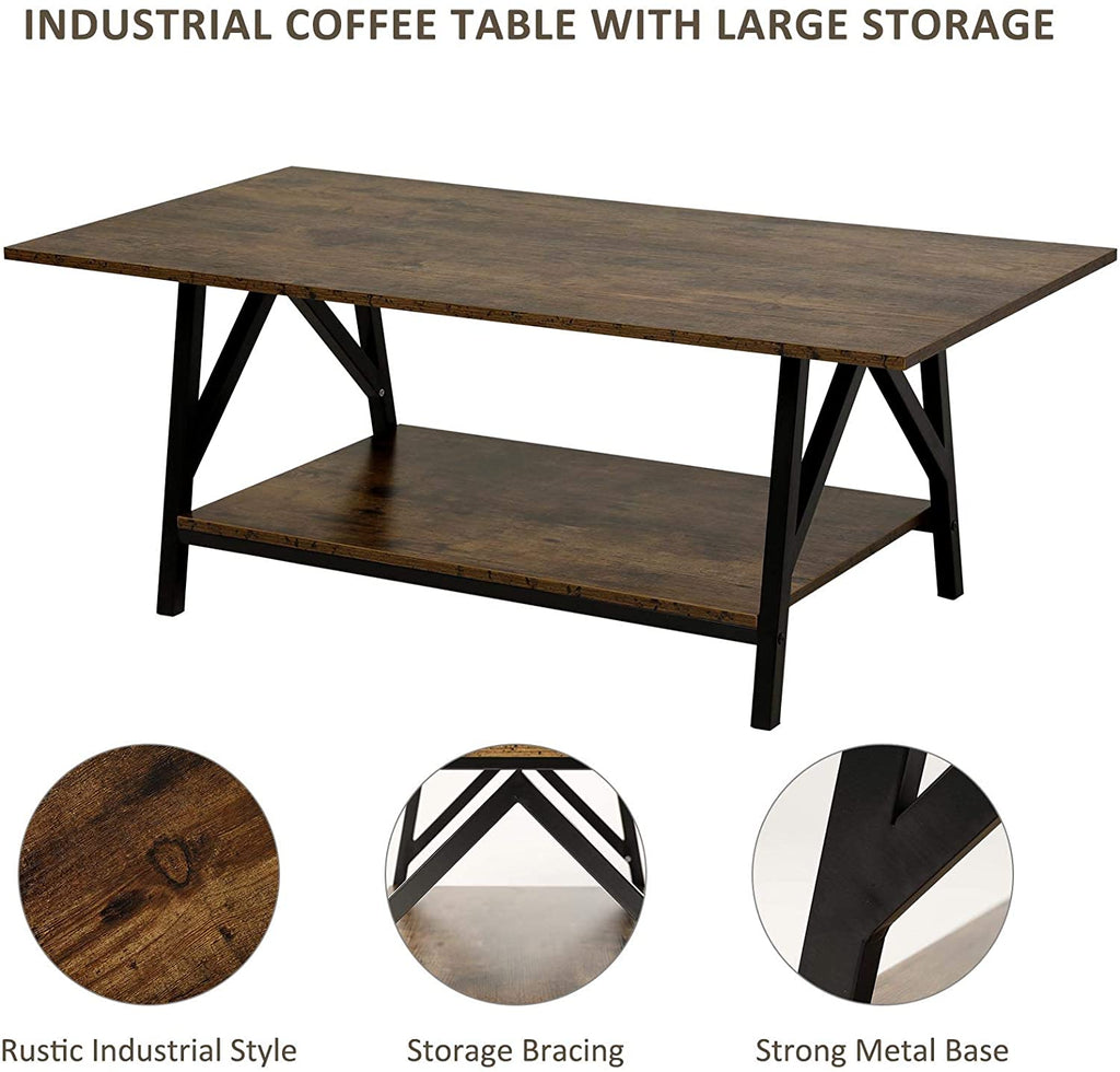 "47"" Industrial Coffee Table with Storage Shelf - Kaiezen"