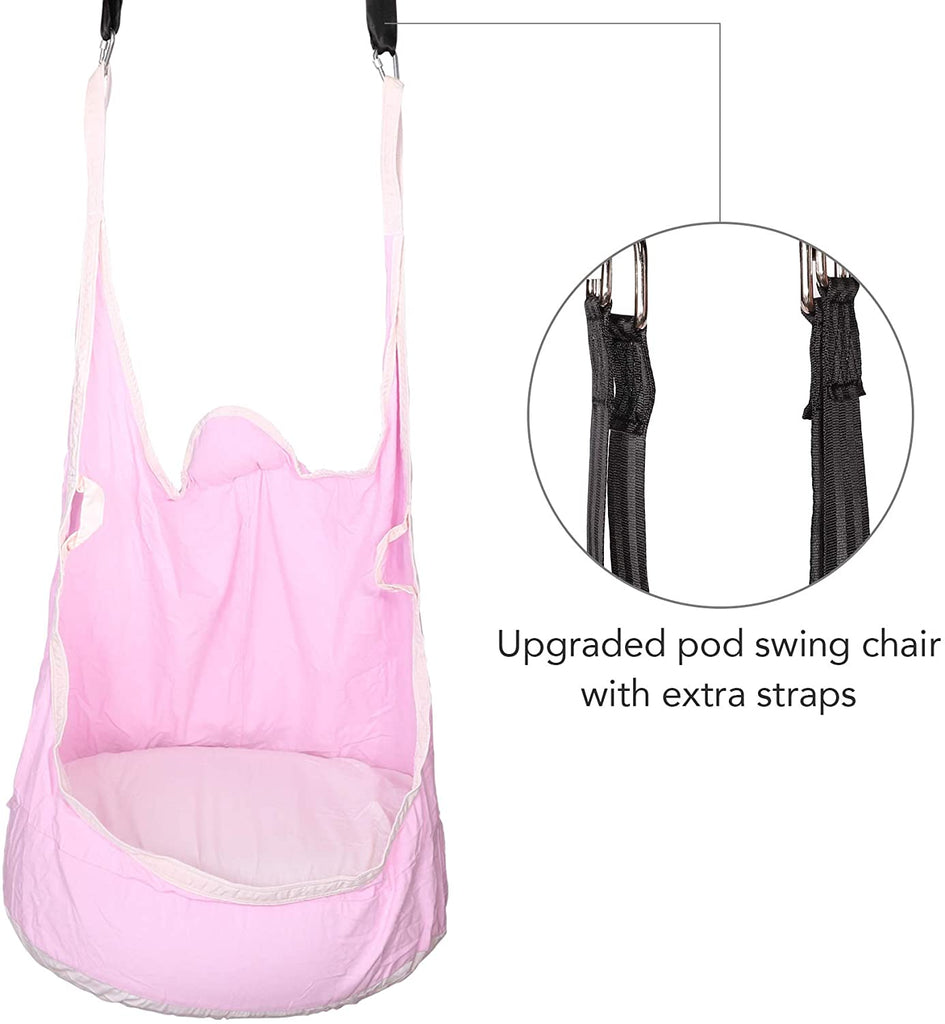 CO-Z Kids Pod Swing Seat Child Hanging Hammock Chair Indoor Outdoor (Upgraded Two Straps, Pink) - Kaiezen