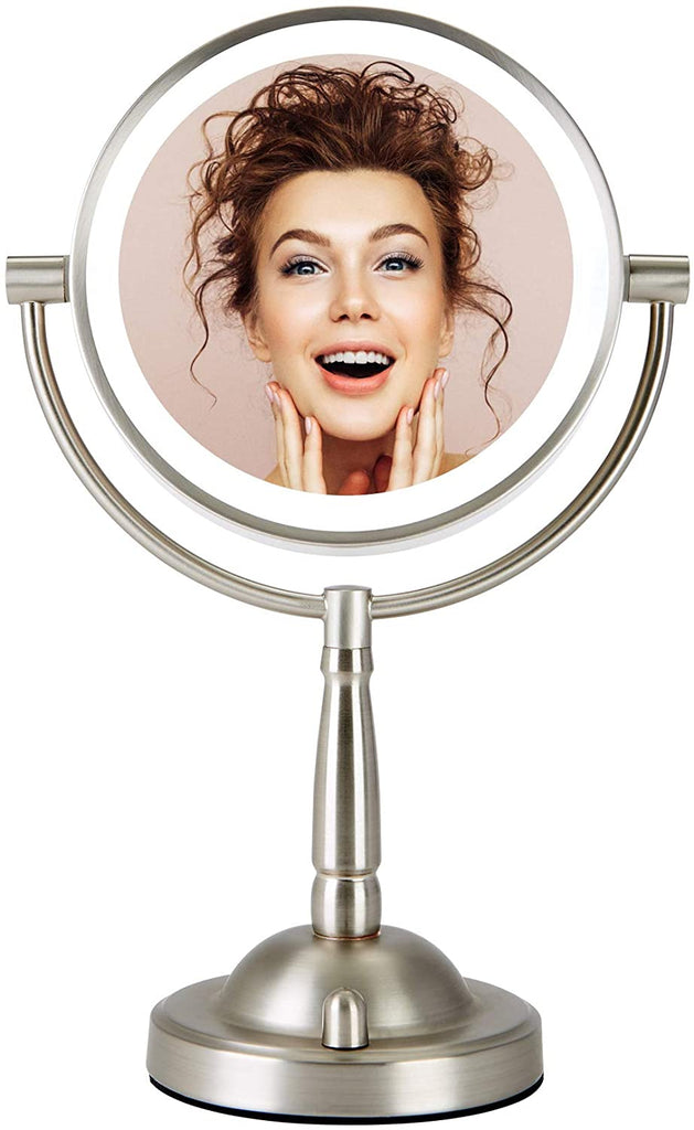 "Makeup Mirror with Lights, 8"" Plug-in LED Lighted Magnifying Vanity Mirror 1x 8X Magnification (Double side) - Kaiezen"