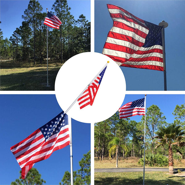 21 Feet Aluminum Telescoping Flag Poles with 3-Feet-by-5-Feet American Flag