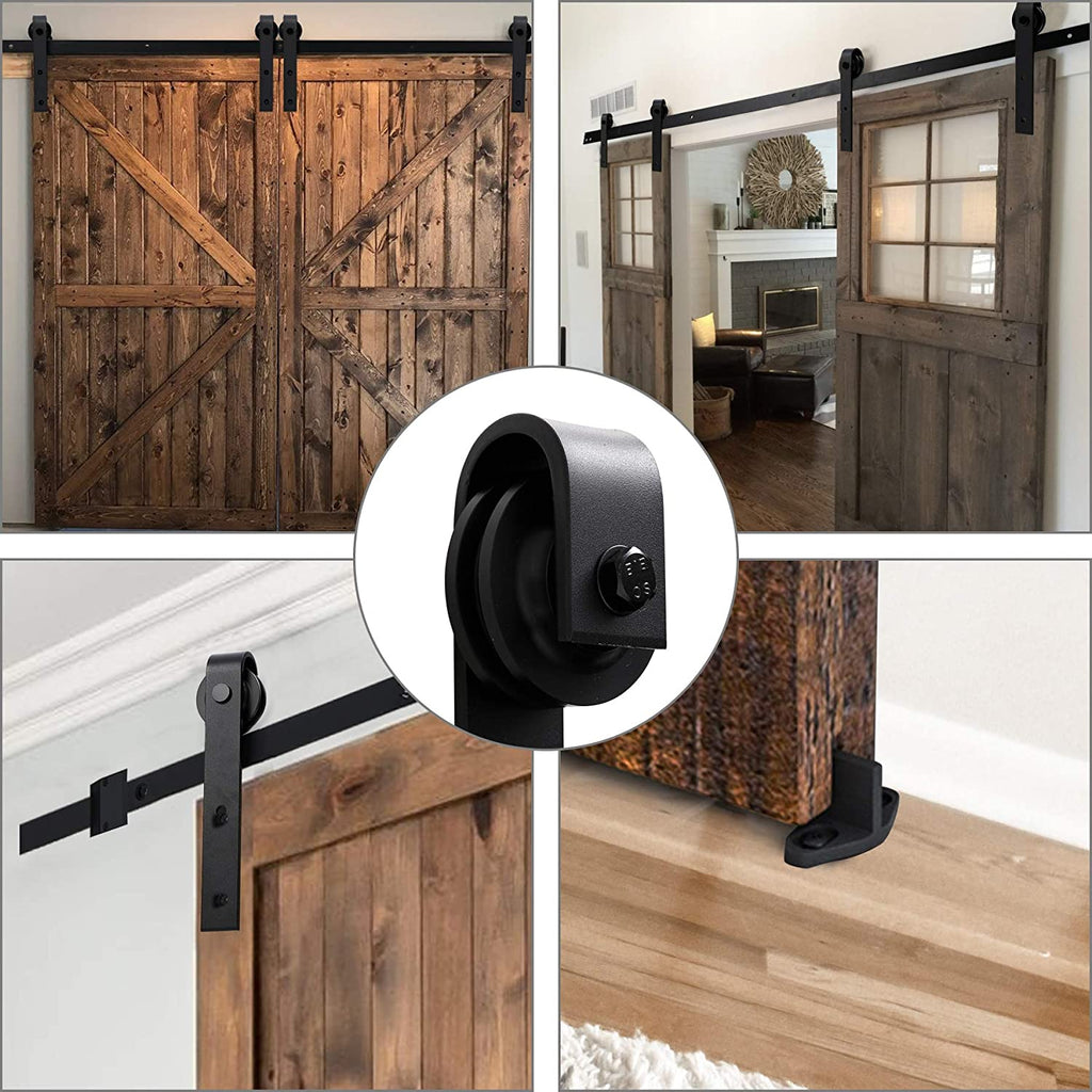 12 Ft Heavy Duty Rail for Sliding Barn Door (Double Door 12Ft Kit) - Kaiezen