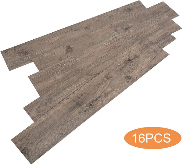 17 PCS 24 Square Feet, CO-Z Odorless Vinyl Floor Planks Adhesive (Oak - 24 sq ft/Pack)