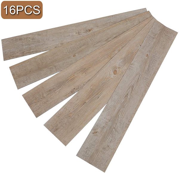 17 PCS 24 Square Feet, CO-Z Odorless Vinyl Floor Planks Adhesive (Ash - 24 sq ft/Pack)
