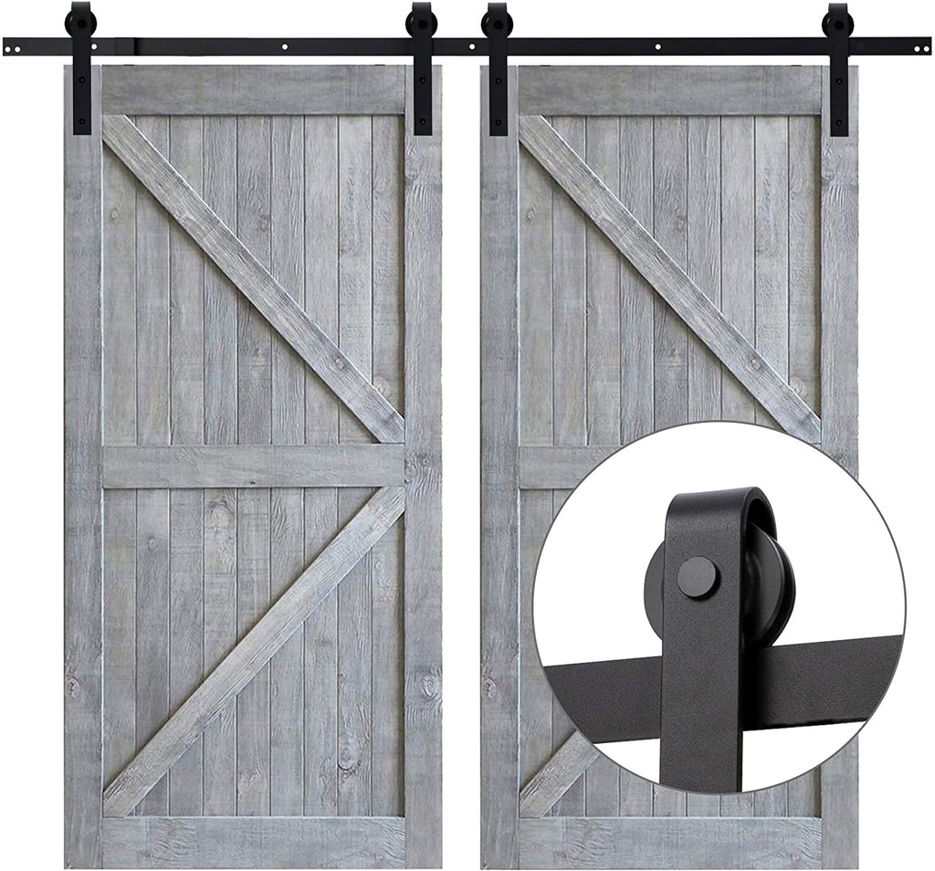 13 Ft Heavy-Duty Rail for Sliding Barn Door (Double Door-13Ft Kit) - Kaiezen