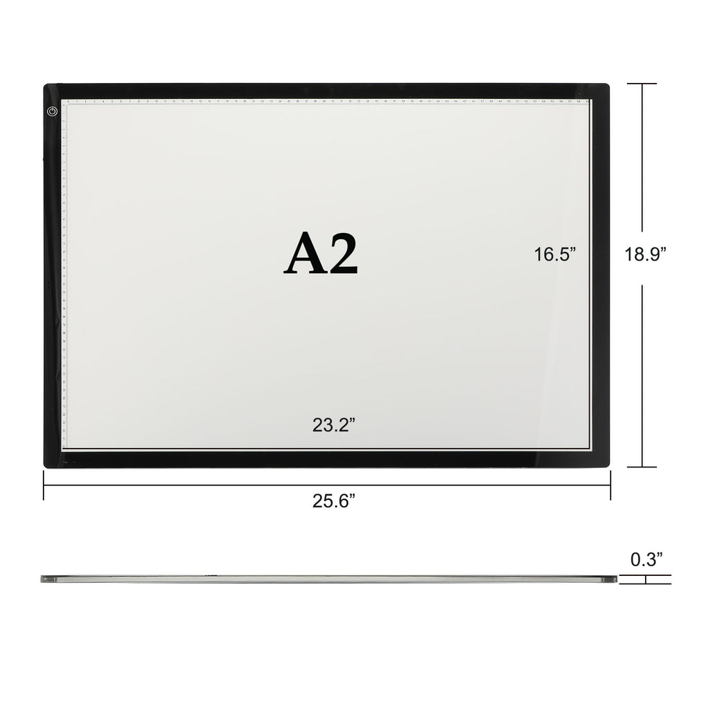 A2 LED Drawing Light Box Board, Ultra-Thin Stepless Dimmable Brightness Tracing Tracer Artist Light Pad - Kaiezen