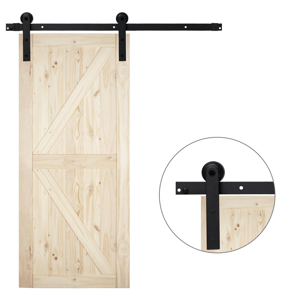8 Ft Heavy Duty Rail For Sliding Barn Door (Single Door Straight 8 Ft Kit) - Kaiezen
