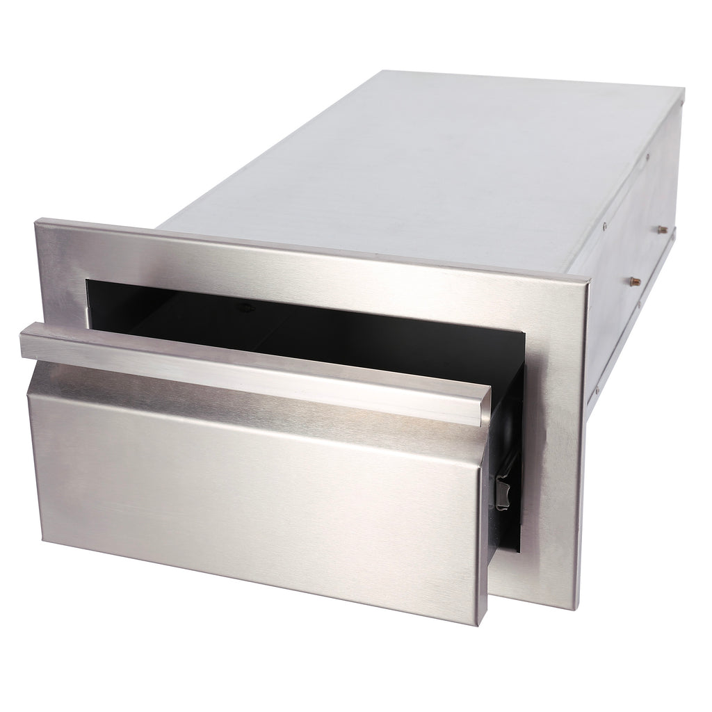 "14"" Outdoor Kitchen BBQ Island Stainless Steel Access Drawer Single Worktable - Kaiezen"