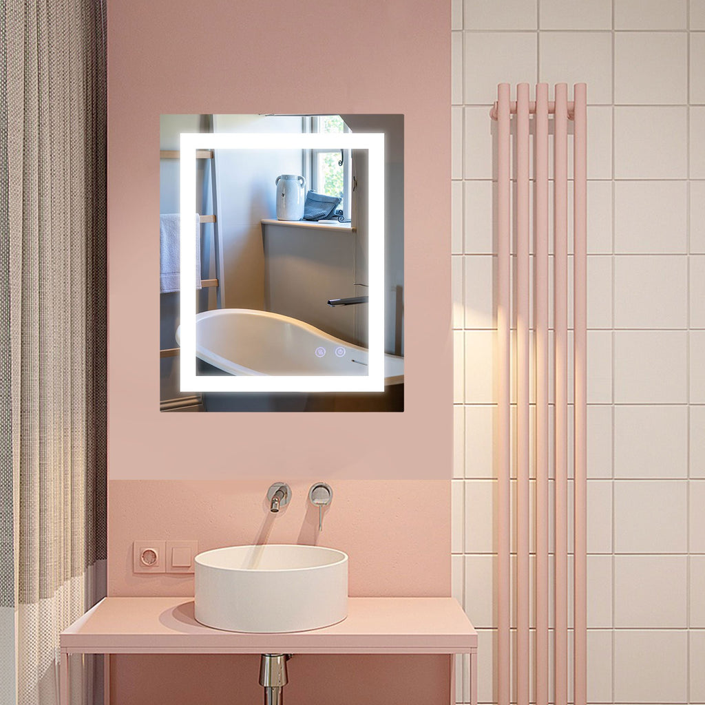 Wall Mounted Oval LED Lighted Bathroom Mirror With Dimmer - Kaiezen