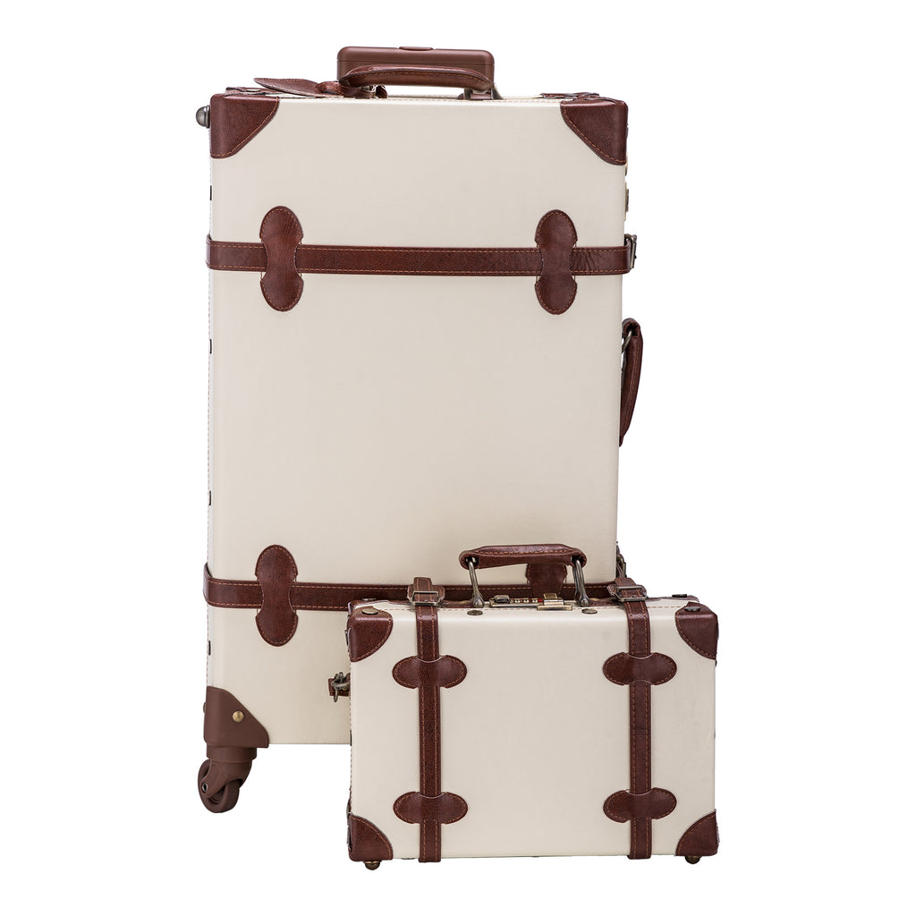 Premium Vintage Luggage Sets with TSA Locks, White - Kaiezen