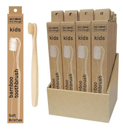 Bamboo Kids Toothbrush | Become the Change | Bear & Moo | Bear and Moo | Hamilton, New Zealand | biodegradable | cloth nappies | environmentally friendly | save money | good for the environment | sustainable living | waste free | Bamboo Kids Toothbrush