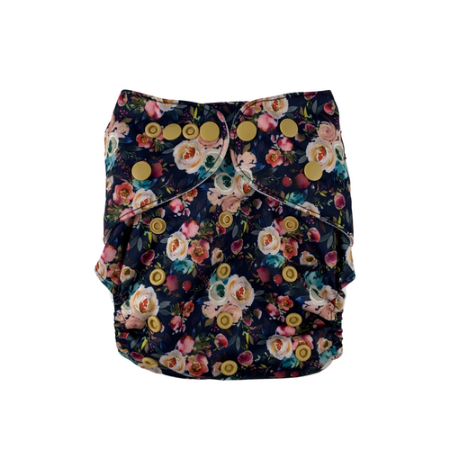 Dark Floral Cloth Nappy | Bear & Moo | Bear and Moo | Hamilton, New Zealand | cloth nappy | reusable nappies | modern cloth nappies | solid colour | environmentally friendly | save money | good for the environment | alternative to disposables | sustainable living | waste free | Dark Floral Cloth Nappy