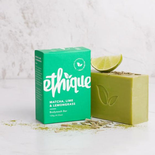Ethique Matcha, Lime & Lemongrass Bodywash Bar | Bear & Moo | Bear and Moo | Hamilton, New Zealand | natural skincare | cleanser bar | soap | cloth nappies | environmentally friendly | save money | good for the environment | sustainable living | waste free | Ethique Matcha, Lime & Lemongrass Bodywash Bar