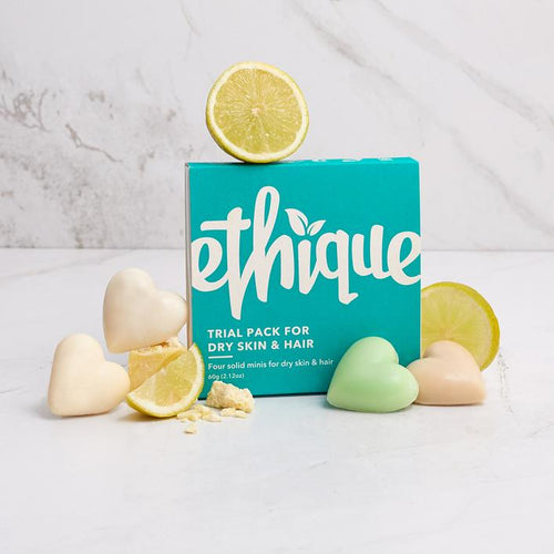 Ethique Trial Pack - Dry Skin & Hair | Bear & Moo | Bear and Moo | Hamilton, New Zealand | natural skincare | cleanser bar | cloth nappies | environmentally friendly | save money | good for the environment | sustainable living | waste free | Ethique Trial Pack - Dry Skin & Hair