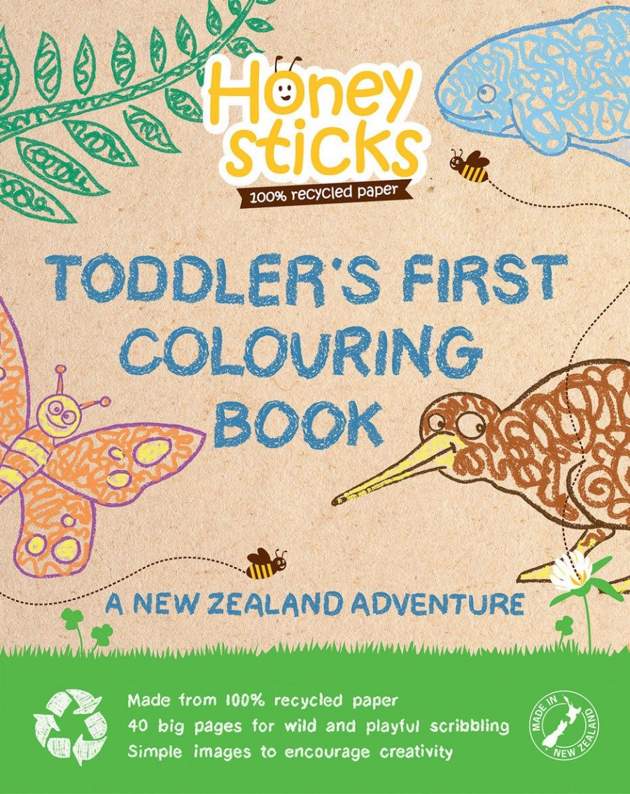 Honeysticks Toddlers First Colouring Book | Bear & Moo | Bear and Moo | Hamilton, New Zealand | NZ Made | colouring book | kids art | cloth nappies | environmentally friendly | save money | good for the environment | sustainable living | waste free | Honeysticks Toddlers First Colouring Book
