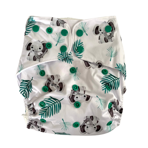 Bohemian Elephants Large Cloth Nappy | Bear & Moo | Bear and Moo | Hamilton, New Zealand | cloth nappy | toddler | reusable nappies | modern cloth nappies | environmentally friendly | save money | good for the environment | alternative to disposables | sustainable living | waste free | Bohemian Elephants Large Cloth Nappy