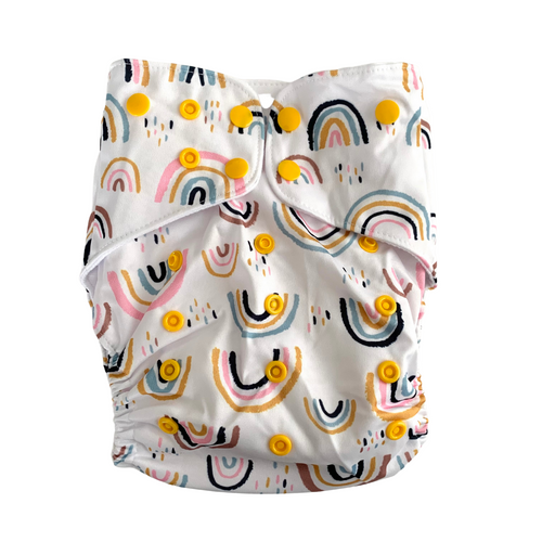 Rainbow Magic Large Cloth Nappy | Bear & Moo | Bear and Moo | Hamilton, New Zealand | cloth nappy | toddler | reusable nappies | modern cloth nappies | environmentally friendly | save money | good for the environment | alternative to disposables | sustainable living | waste free | Rainbow Magic Large Cloth Nappy