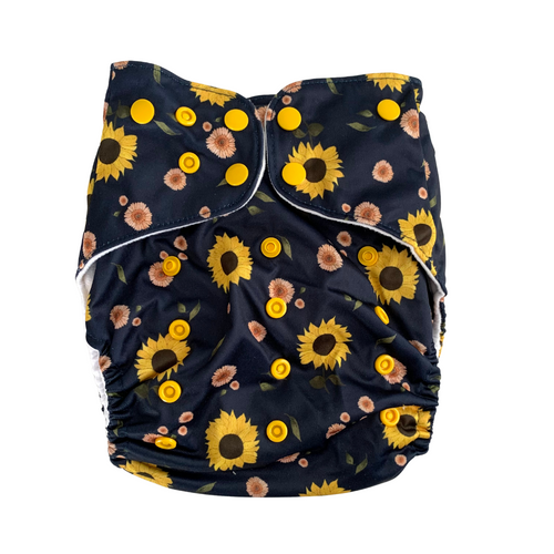 Sunflowers Large Cloth Nappy | Bear & Moo | Bear and Moo | Hamilton, New Zealand | cloth nappy | toddler | reusable nappies | modern cloth nappies | environmentally friendly | save money | good for the environment | alternative to disposables | sustainable living | waste free | Sunflowers Large Cloth Nappy