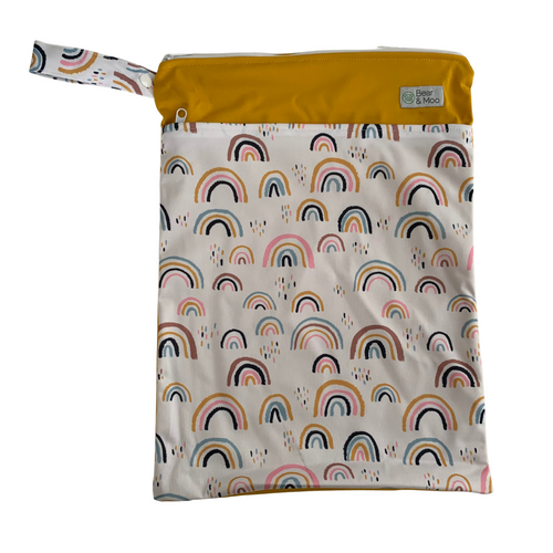 Rainbow Magic Wet Bag | Bear & Moo | Bear and Moo | Hamilton, New Zealand | wet bag | wetbag | cloth nappy | reusable nappies | modern cloth nappies | environmentally friendly | save money | good for the environment | alternative to plastic | sustainable living | waste free | Rainbow Magic Wet Bag