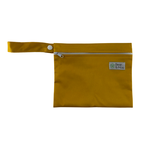 Mustard Mini Wet Bag | Bear & Moo | Bear and Moo | Hamilton, New Zealand | polar bears | wet bag | wetbag | cloth nappy | reusable nappies | modern cloth nappies | environmentally friendly | save money | good for the environment | alternative to plastic | sustainable living | waste free | Mustard Mini Wet Bag