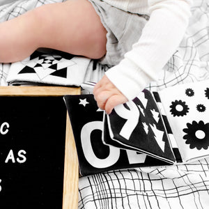 Luxe Soft Book | Bear & Moo | Bear and Moo | Hamilton, New Zealand | NZ Book | kids books | quiet book | play | black and white | cloth nappies | environmentally friendly | save money | good for the environment | sustainable living | waste free | Luxe Soft Book