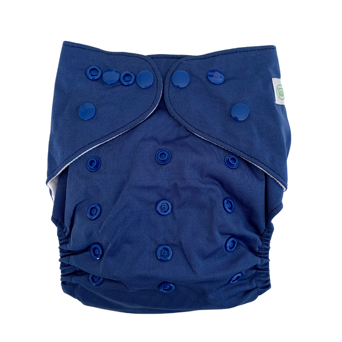 Ink Blue Cloth Nappy | Bear & Moo | Bear and Moo | Hamilton, New Zealand | cloth nappy | reusable nappies | modern cloth nappies | solid colour | environmentally friendly | save money | good for the environment | alternative to disposables | sustainable living | waste free | Ink Blue Cloth Nappy