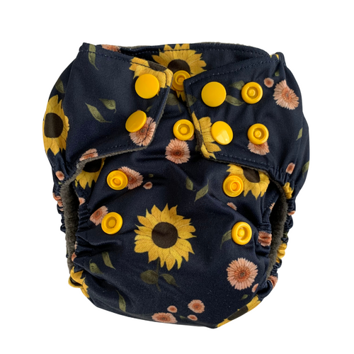 Sunflowers Newborn Cloth Nappy | Bear & Moo | Bear and Moo | Hamilton, New Zealand | cloth nappy | reusable nappies | modern cloth nappies | solid colour | environmentally friendly | save money | good for the environment | alternative to disposables | sustainable living | waste free | Sunflowers Newborn Cloth Nappy