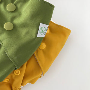 Olive | Bear & Moo | Bear and Moo | Hamilton, New Zealand | fruit | bright | cloth nappy | reusable nappies | modern cloth nappies | soli colour | environmentally friendly | save money | bamboo inner | good for the environment | alternative to disposables | sustainable living | waste free | Olive